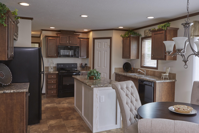 Kitchen and dining room in the Montclair model